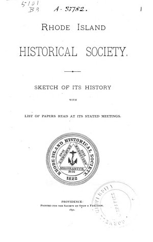 Sketch of Its History