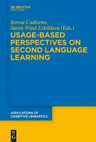 Usage Based Perspectives on Second Language Learning PDF
