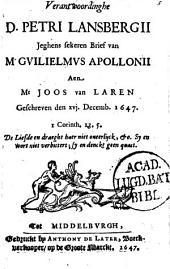 Verantwoordinghe jegens sekeren brief van Guil. Appollonii aen J. van Laren