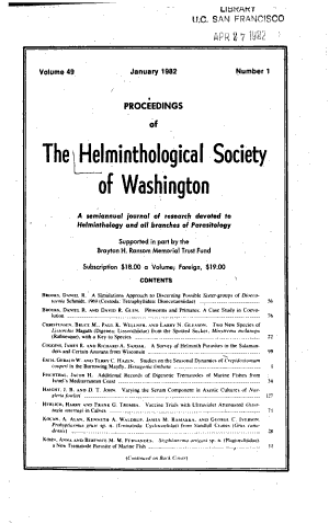 Proceedings of the Helminthological Society of Washington PDF