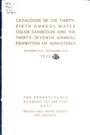 Catalogue of the     Annual Philadelphia Water Color Exhibition  and the Annual Exhibition of Miniatures PDF