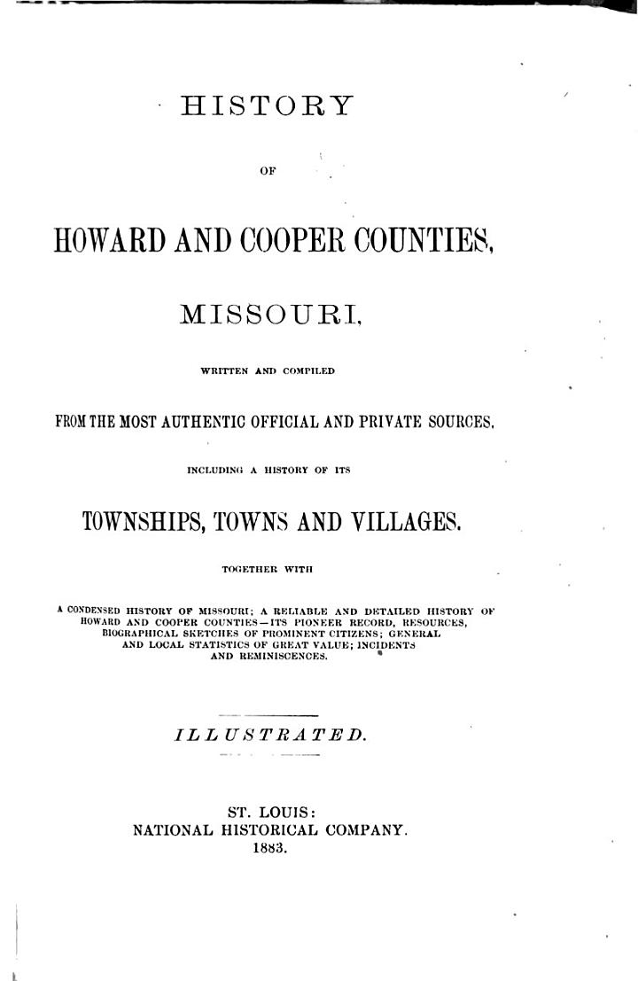 History of Howard and Cooper Counties, Missouri