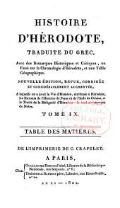 Histoire d'Hérodote: traduite du grec, avec des remarques historiques et critiques, un essai sur la chronologie d'Hérodote, et une table géographique, Volume9
