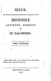 Histoire ancienne, romaine et du Bas-Empire: table générale