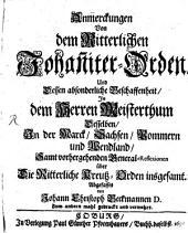 Anmerkungen von dem Ritterlichen Johanniter-Orden
