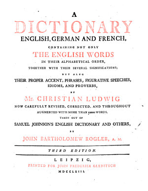 A Dictionary English  German and French PDF