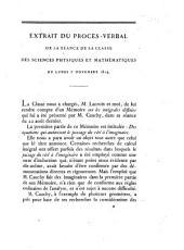 """Extrait du Procès-Verbal de la Séance ... du 7 Novembre 1814. [Being a report by L. Lacroix and A. M. Legendre on Cauchy's """"Mémoire sur les intégrales définies;"""" with the Mémoire.]"""