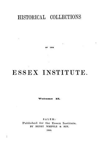 Essex Institute Historical Collections PDF