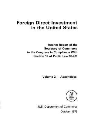Foreign Direct Investment in the United States  Appendices PDF