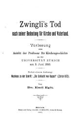 Zwingli's Tod nach seiner Bedeutung für Kirche und Vaterland