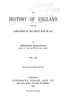 A History of England from the Conclusion of the Great War in 1815 PDF