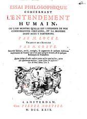 Essai philosophique concernant l'entendement humain ...