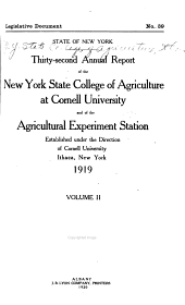 Report of the New York State College of Agriculture at Cornell University, Ithaca, and of the Cornell University Agricultural Experiment Station: Issue 32, Part 2