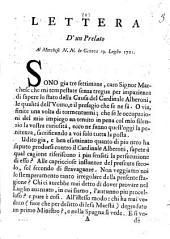 Lettera d'un prelato al marchese N.N. in Genova 19. Luglio 1721