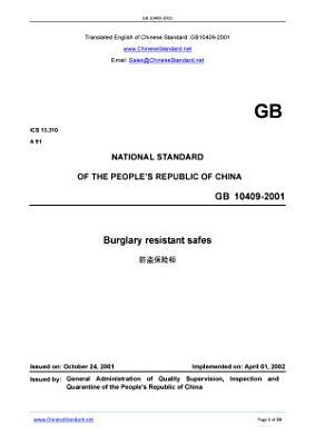 GB 10409 2001  Translated English of Chinese Standard  GB10409 2001 PDF