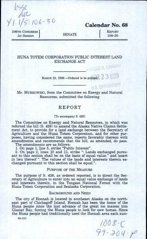Huna Totem Corporation Public Interest Land Exchange Act