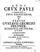 Crux Pauli, 2 Cor. XII, 7. crux exegetarum, refixa