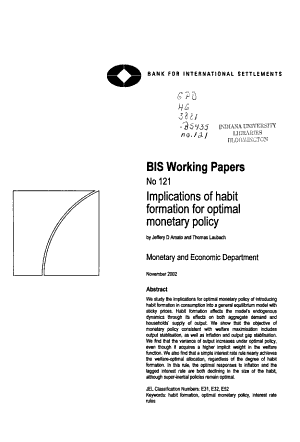 Implications of Habit Formation for Optimal Monetary Policy PDF