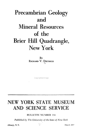 Precambrian Geology and Mineral Resources of the Brier Hill Quadrangle  New York PDF