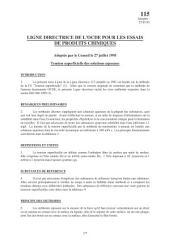 Lignes directrices pour les essais de produits chimiques / Section 1: Propriétés Physico-Chimiques Essai n° 115: Tension superficielle des solutions aqueuses