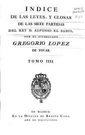 """""""Indice de las leyes y glosario de las Siete Partidas"""""""