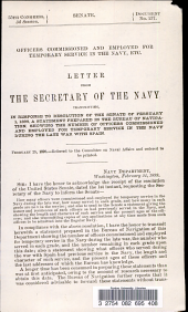 Letter from the Secretary of the Navy Transmitting  in Response to Resolution of the Senate of February 1  1899  a Statement Prepared in the Bureau of Navigation  Showing the Number of Officers Commissioned and Employed for Temporary Service in the Navy During the Late War with Spain PDF