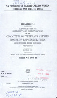 VA Provision of Health Care to Women Veterans and Related Issues PDF