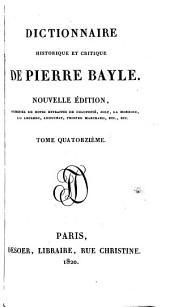 Dictionnaire historique et critique de Pierre Bayle: Volume14