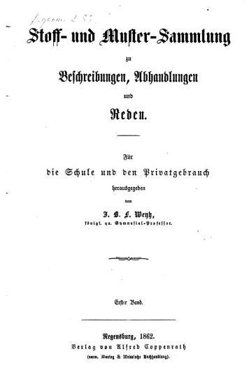 Stoff  und Mustersammlung zu Beschreibungen  Abhandlungen und Reden PDF