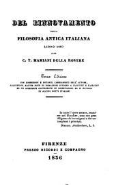 Del rinnovamento della filosofia antica italiana: libro uno