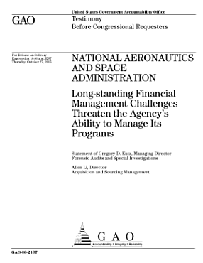 National Aeronautics and Space Admin    Long Standing Financial Management Challenges Threaten the Agency s Ability to Manage Its Programs PDF