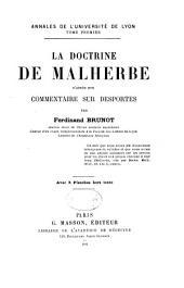 La doctrine de Malherbe d'après son commentaire sur Desportes