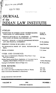 Journal of the Indian Law Institute PDF