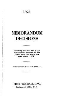 T C  Memorandum Decisions