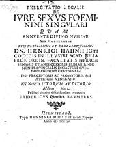 De jure sexus foeminini singulari; resp. Frid. Gottlieb Raumer. - Helmstadii, Muller 1664