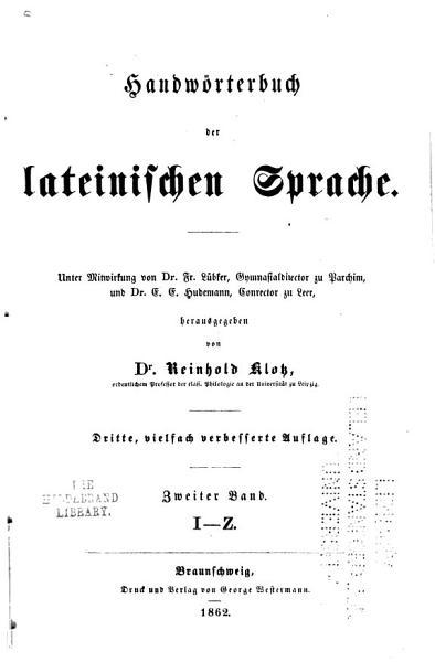 Handw  rterbuch der lateinischen Sprache