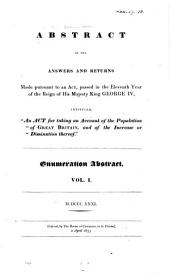 """Abstract of the Answers and Returns Made Pursuant to an Act Passed in the Eleventh Year of the Reign of His Majesty King George IV, Intituled, """"An Act for Taking an Account of the Population of Great Britain, and of the Increase Or Diminution Thereof"""", M.DCCC.XXXI: Volume 1"""
