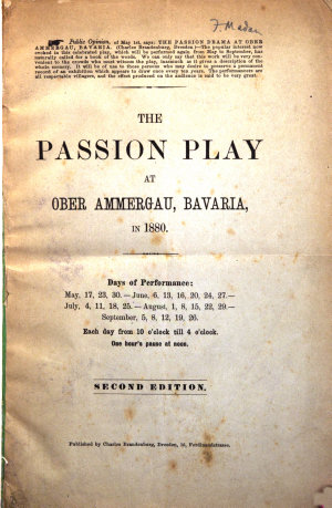 The Passion play at Ober Ammergau  Bavaria  in 1880