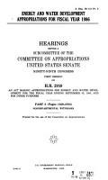 Energy and Water Development Appropriations for Fiscal Year 1986  Nondepartmental witnesses PDF