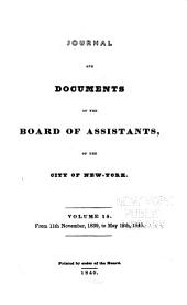 Journal and Documents of the Board of Assistants, of the City of New York: Volume 15