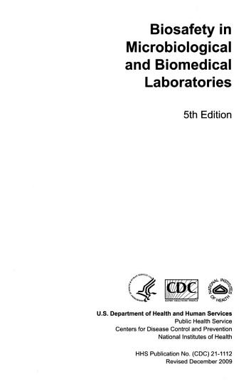 Biosafety in Microbiological and Biomedical Laboratories PDF