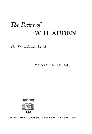 The Poetry of W. H. Auden