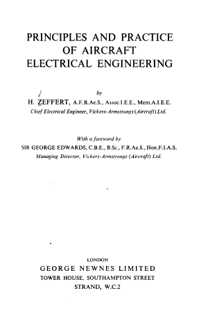 Principles and Practice of Aircraft Electrical Engineering PDF
