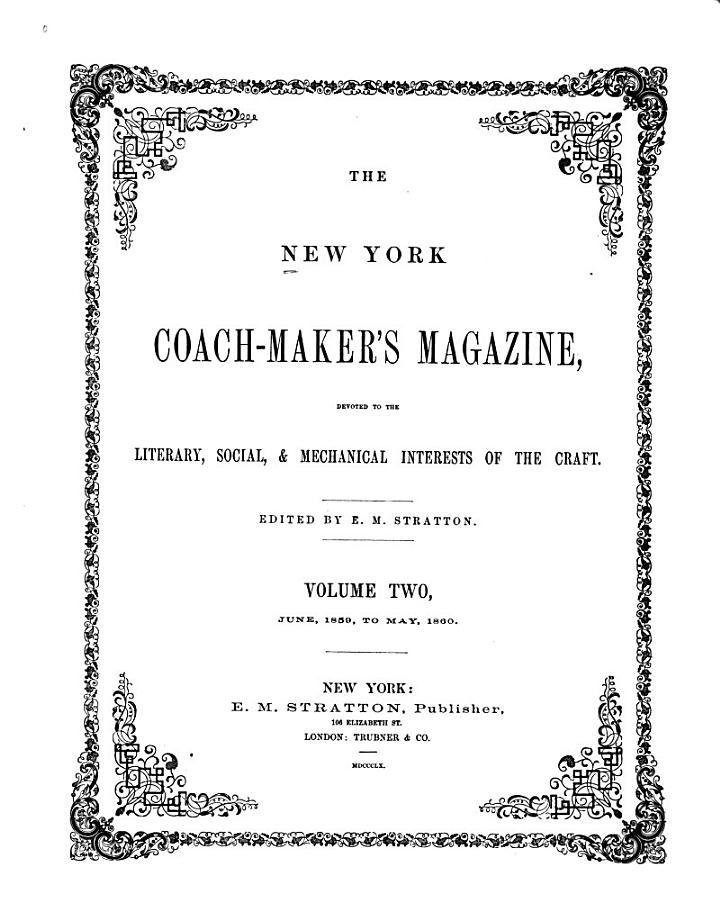 The New York Coach-maker's Magazine