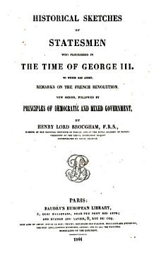 Historical Sketches of Statesmen  who Flourished in the Time of George III  New Series PDF