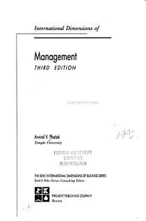 International Dimensions of Management PDF
