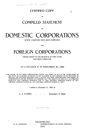 Certified Copy of Compiled Statement of Domestic Corporations Whose Charters Have Been Forfeited, and Foreign Corporations Whose Right to Do Business in this State Has Been Forfeited ... November 30, 1909, for Failure to Pay Their Corporation License Tax ... Certified to December 31, 1909