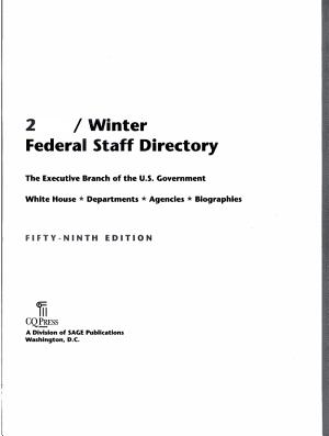 Federal Staff Directory 2009 Winter