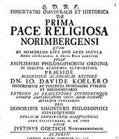 Diss. inaug. hist. de prima pace religiosa Norimbergensi
