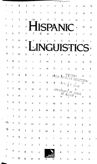 Hispanic Linguistics PDF